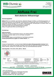 """Produktblatt: """"Abfluss Frei"""" - Stark alkalischer Abflussreiniger - ein Produkt der Linker Group der Firma WB-Chemie (Steirische Industriechemie)"""