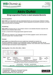 """Produktblatt: """"Aktiv Duftöl"""" ist ein Raumduft für stark geruchsbelastete Bereiche - ein Produkt der Linker Group der Firma WB-Chemie (Seirische Industriechemie)"""