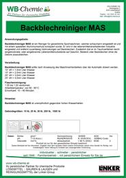 """Produktblatt: """"Backblechreiniger MAS"""" - Reiniger für gewerbliche Spülmaschinen - ein Produkt der Linker Group der Firma WB-Chemie (Steirische Industriechemie)"""