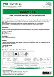 Produktblatt - Booster F 4 - stark alkalisches Reinigungsmittel - ein Produkt der Linker Group der Firma WB-Chemie (Steirische Industriechemie)