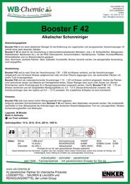 Produktblatt - Booster F 42 - alkalischer Schonreiniger - ein Produkt der Linker Group der Firma WB-Chemie (Steirische Industriechemie)