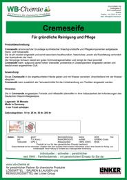 """Produktblatt: """"Cremeseife""""- mit synthetischen Waschgrundstoffen und Pflegekomponenten - ein Produkt der Linker Group der Firma WB-Chemie (Steirische Industriechemie)"""
