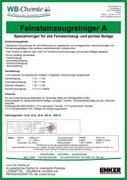 """Produktblatt: """"Feinsteinzeugreiniger A"""" - Spezialreiniger für alle Feinsteinzeug- und poröse Beläge - ein Produkt der Linker Group der Firma WB-Chemie (Steirische Industriechemie)"""