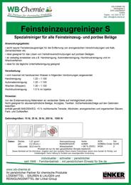 """Produktblatt: """"Feinsteinzeugreiniger S"""" - Spezialreiniger für alle Feinsteinzeug- und poröse Beläge - ein Produkt der Linker Group der Firma WB-Chemie (Steirische Industriechemie)"""