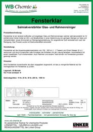 """Produktblatt: """"Fensterklar"""" - Salmiakverstärkter Glas- und Rahmenreiniger - ein Produkt der Linker Group der Firma WB-Chemie (Steirische Industriechemie)"""