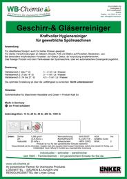 """Produktblatt: """"Geschirr- und Gläserreiniger """"- Spezialreiniger für alle Geschirrspülmaschinen - ein Produkt der Linker Group der Firma WB-Chemie (Steirische Industriechemie)"""