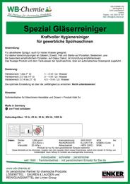 """Produktblatt: """"Gläserreiniger""""- Spezialreiniger für alle Gläserspülmaschinen - ein Produkt der Linker Group der Firma WB-Chemie (Steirische Industriechemie)"""