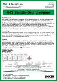 Produktblatt: H4S Sanitär-Grundreiniger ist ein stark säurehaltiges Reinigungsmittel zur Grundreinigung - ein Produkt der Linker Group der Firma WB-Chemie