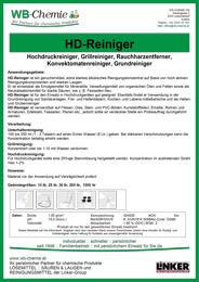 """Produktblatt: """"HD-Reiniger"""" - Starker Spezialreiniger für den gesamten Betriebsbereich - ein Produkt der Linker Group der Firma WB-Chemie (Steirische Industriechemie)"""