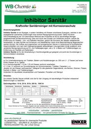 Produktblatt - Inhibitor Sanitär: Starker Kalk-, Urin- und Wassersteinentferner der Firma WB-Chemie
