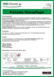"""Produktblatt: """"Komplex Glanzpfleger"""" - ein Produkt der Linker Group der Firma WB-Chemie (Steirische Industriechemie)"""