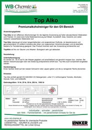"""Produktblatt: """"Top Alko"""" - Premiumalkoholreiniger für den GV-Bereich - ein Produkt der Linker Group der Firma WB-Chemie (Steirische Industriechemie)"""