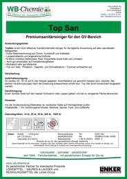 """Produktblatt: """"Top San"""" - Premiumsanitärreiniger für den GV-Bereich - ein Produkt der Linker Group der Firma WB-Chemie (Steirische Industriechemie)"""