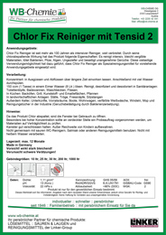 Produktblatt: Chlor Fix Reiniger als Spezialreinigungsmittel für vorstehendeAnwendungsgebiete - ein Produkt der Linker Group der Firma WB-Chemie (Steirische Industriechemie)