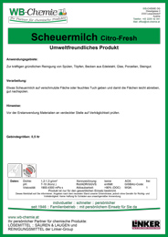 """Produktblatt: """"Scheuermilch Citro-Fresh"""" - Umweltfreundliches Produkt - ein Produkt der Linker Group der Firma WB-Chemie (Steirische Industriechemie)"""