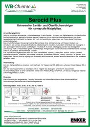 """Produktblatt: """"Serocid Plus"""" - Universeller Sanitär- und Oberflächenreiniger für nahezu alle Materialien - ein Produkt der Linker Group der Firma WB-Chemie (Steirische Industriechemie)"""
