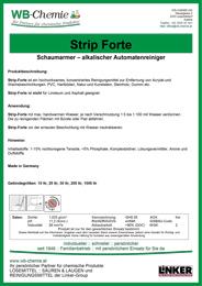 """Produktblatt: """"Strip Forte"""" Schaumarmer – alkalischer Automatenreiniger - ein Produkt der Linker Group der Firma WB-Chemie (Steirische Industriechemie)"""