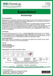 """Produktblatt: """"Superalosol"""" - Neutralreiniger - ein Produkt der Linker Group der Firma WB-Chemie (Steirische Industriechemie)"""