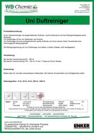 """Produktblatt: """"Uni Duftreiniger"""" - ein Produkt der Linker Group der Firma WB-Chemie (Steirische Industriechemie)"""