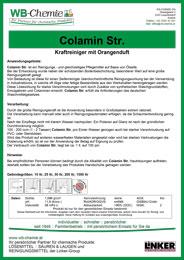 """Produktblatt: """"Colamin Str."""" - Kraftreiniger mit Orangenduft - ein Produkt der Linker Group der Firma WB-Chemie (Steirische Industriechemie)"""